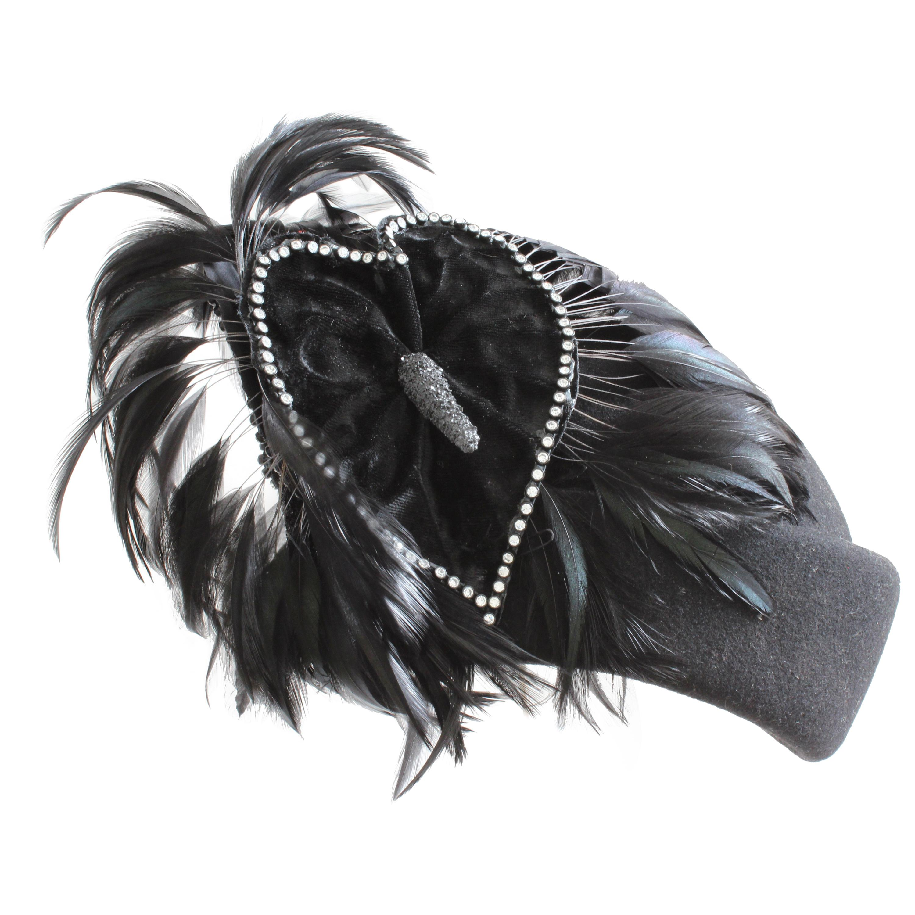 Jack McConnell Boutique Black Wool Clochette Hat with Feathers 1960s Bollman Hat