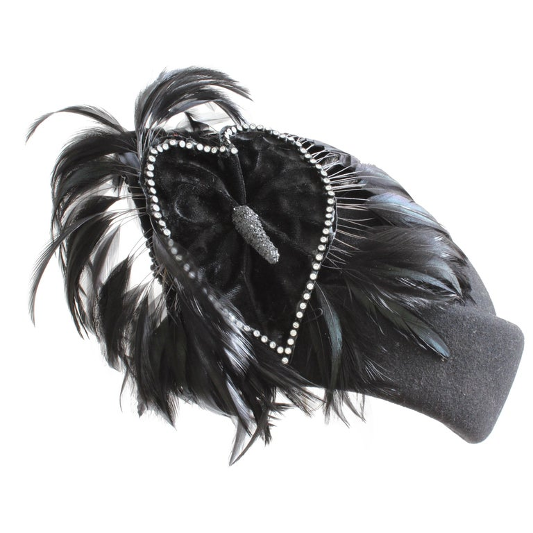 Jack McConnell Boutique Black Wool Clochette Hat with Feathers 1960s Bollman Hat For Sale