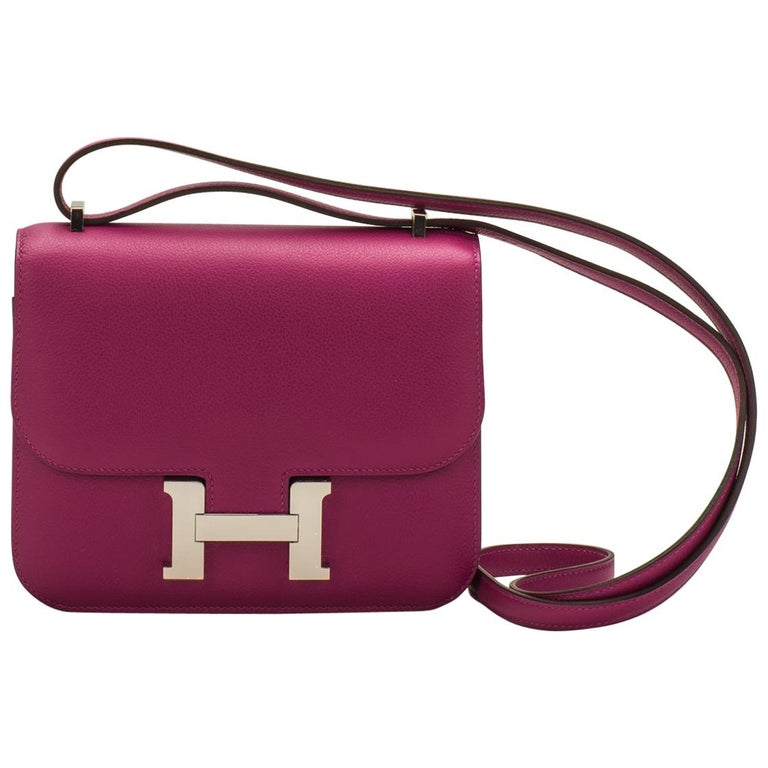 fdb8190b653f New in Box Hermes Constance 18 Rose Pourpre Bag For Sale. Hermès rose  pourpre evercolor mini constance cross body with palladium hardware. 18cm  size.