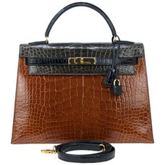 Hermes Tricolor 32cm Cognac Gray and Black with Gold Hardware Kelly Bag