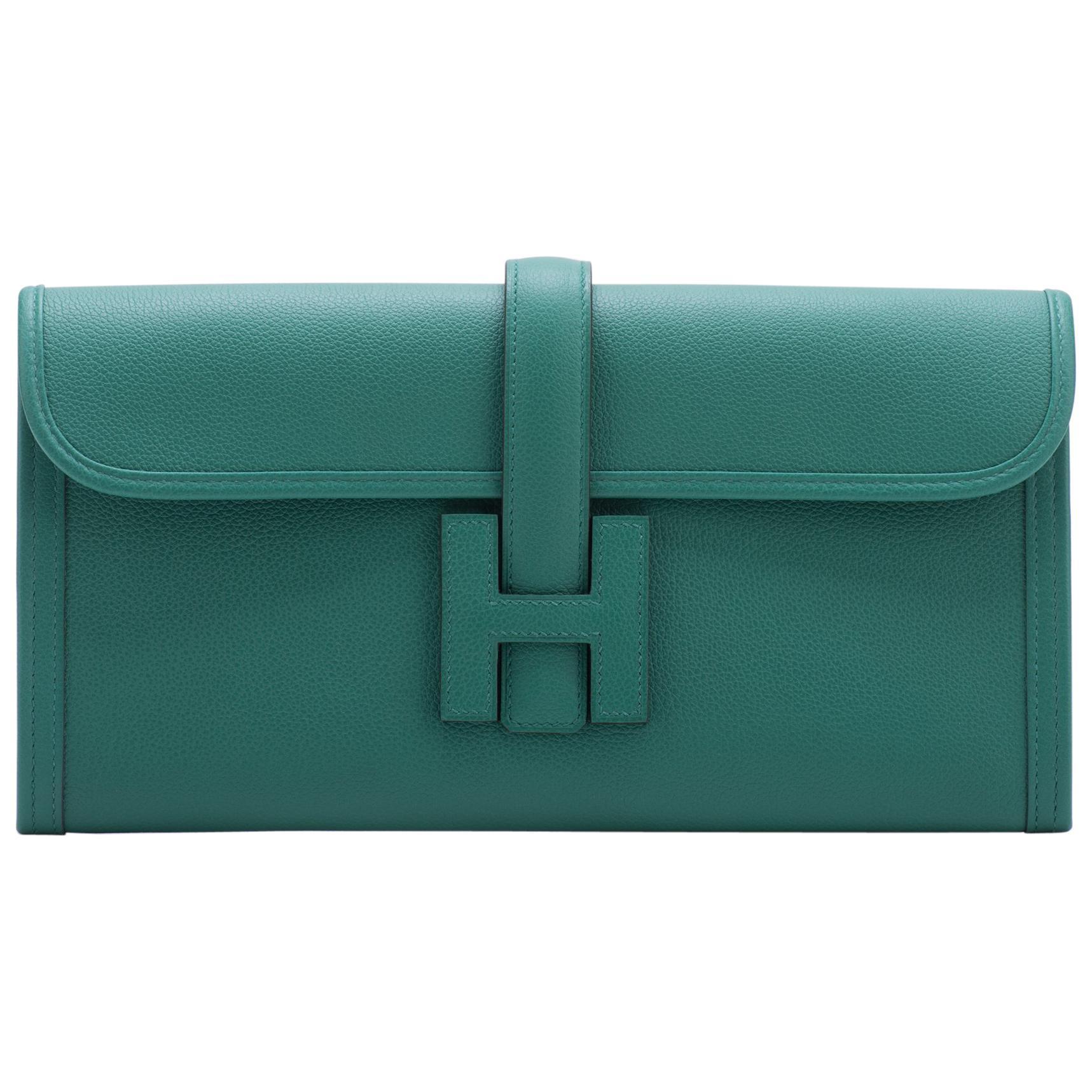 Brand New in Box Hermes Vert Vertigo Jige Elan Clutch Bag