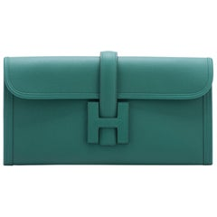 Brand New in Box Hermes Vert Vertigo Jige Elan Clutch Bag