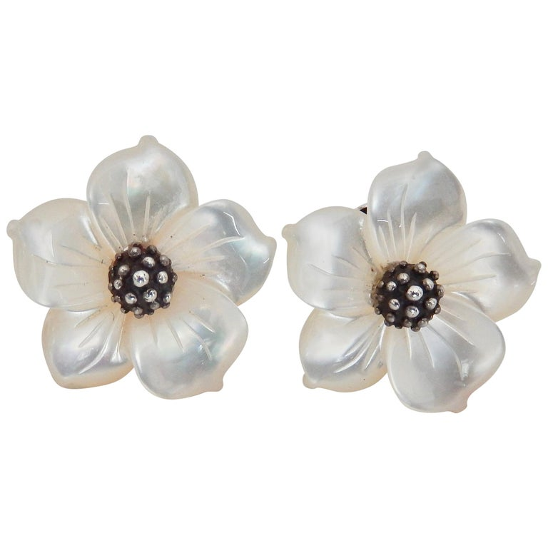 Stephen Dweck Sterling And Mother Of Pearl Flower Earrings 1980s For