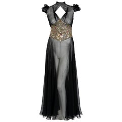 1930's Couture Black Sequin Silk-Chiffon Puff Sleeve Backless Bias-Cut Deco Gown