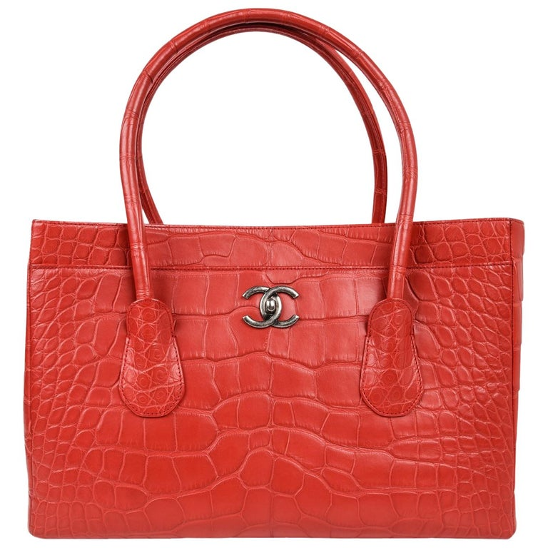 Chanel Bag Large Matte Crocodile Tote Rose Pink New