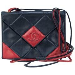 Vintage Chanel Red & Black Quilted Leather Handbag