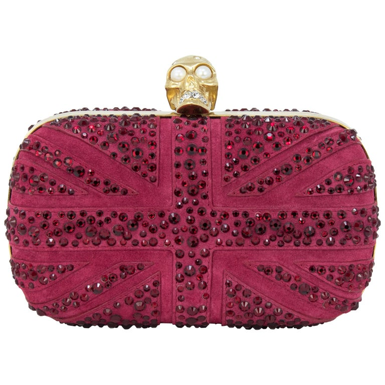 Alexander McQueen Britannia Union Jack Skull  Red Suede For Sale