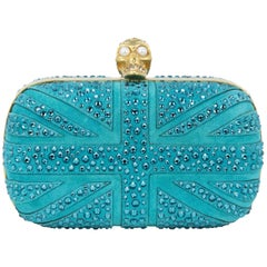 Alexander McQueen Green Suede British Flag Clutch