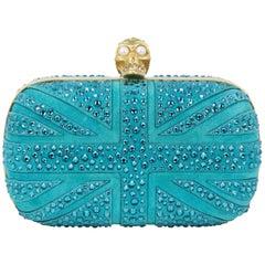 Alexander McQueen Britannia Union Jack Skull Blue Suede