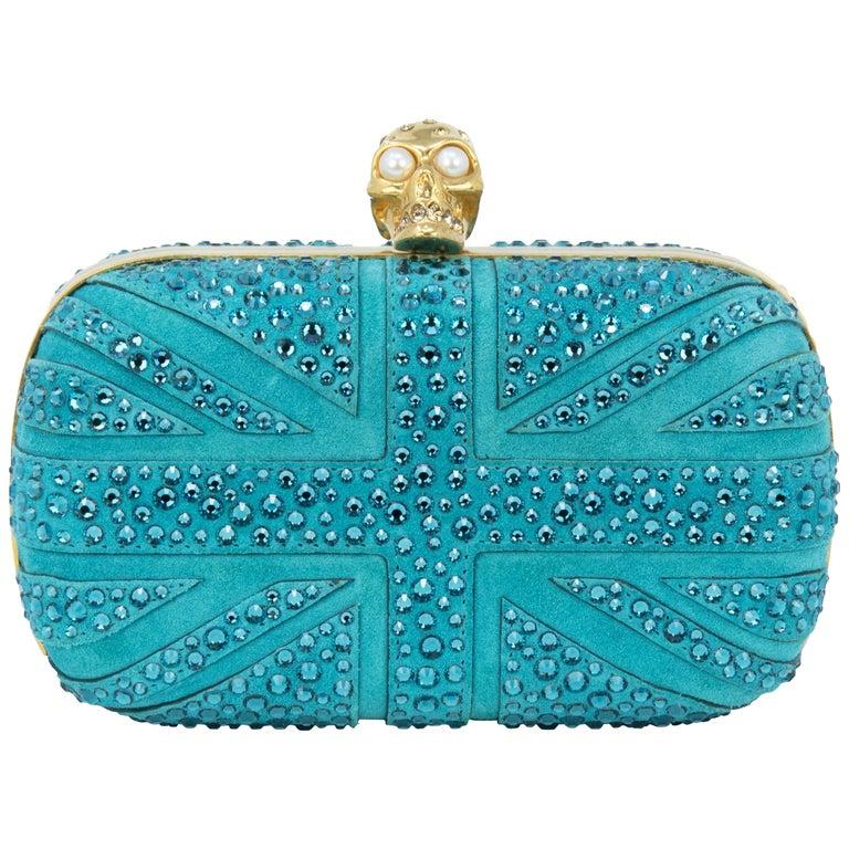 Alexander McQueen Britannia Union Jack Skull Blue Suede For Sale
