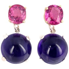 3.9 Carats Pink Tourmaline and 42.63 Carats Amethyst Stud Earrings