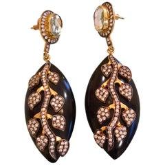 Black Resin Leaf Earrings