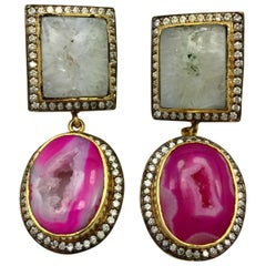 Double Drop Druzy Pink & White Earrings.  As featured in Oprah Magazine!