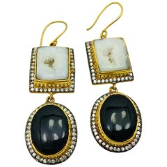 MEGHNA JEWELS Druzy Black & White Earrings . As featured in Oprah Magazine!