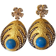 Meghna Jewels Hand brushed Turquoise and Crystal Earrings