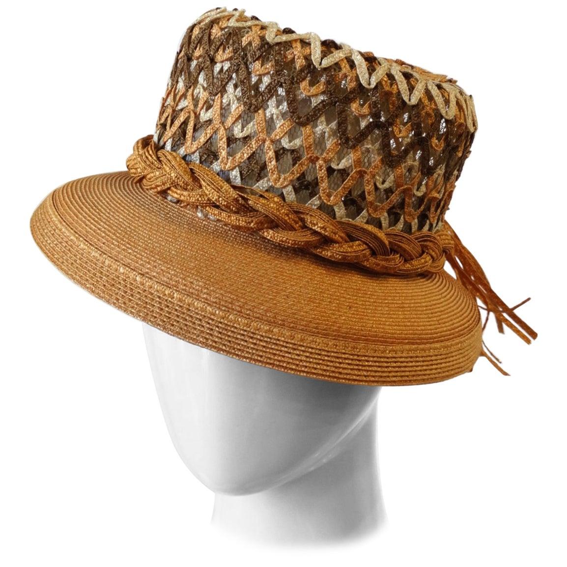 Yves Saint Laurent Woven Straw Boater Hat, 1960s