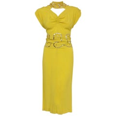 1940's Lilli Diamond Chartreuse Yellow Silk Sequin Star Cut-Out Cocktail Dress