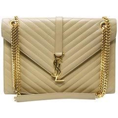 YSL Large Quilted Beige Shoulder Bag