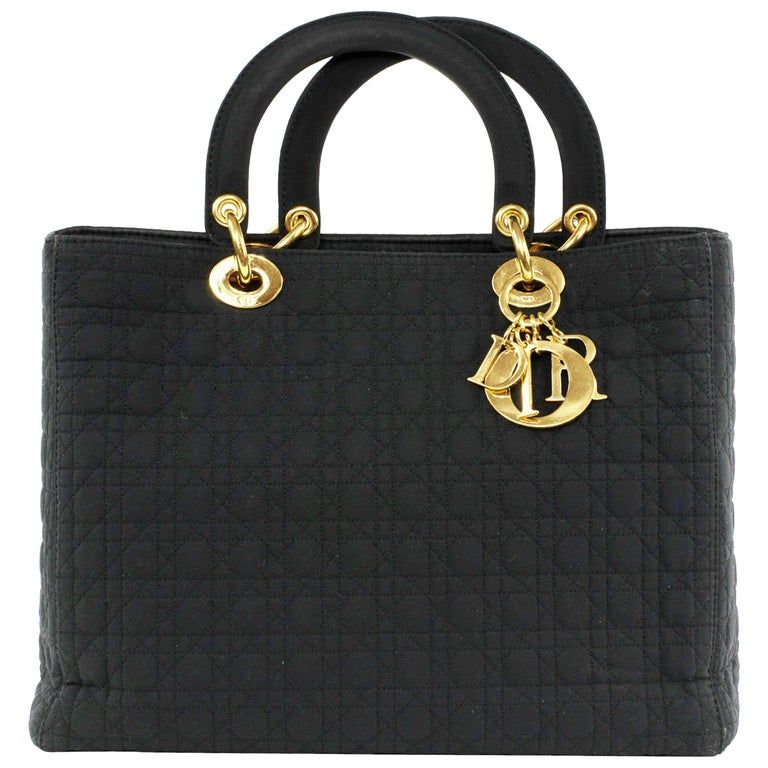 Lady Dior Large Black Quilted Nylon Bag