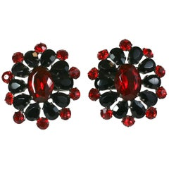 Oversized Jet and Ruby Italian Earclips