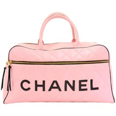 Chanel Vintage Sports Line Pink Calfskin Diamond Quilted Leather Boston Bag