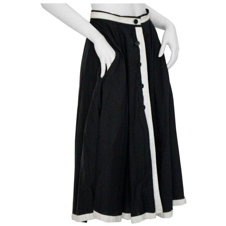 8de5252171 Jean Louis Scherrer boutique Vintage Skirt 1980s Black and White Paris  1980s For Sale