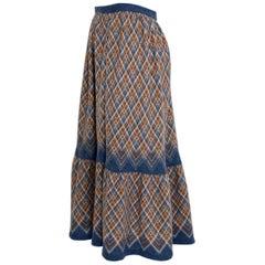 Wool Midi Vintage Skirt Bohemian 1970s