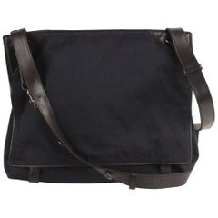 Bottega Veneta Blue Canvas and Black Leather Messenger Bag
