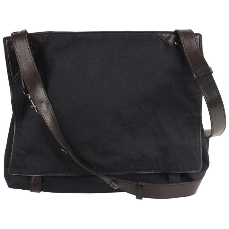 49f09cc9a900 Bottega Veneta Blue Canvas and Black Leather Messenger Bag For Sale ...