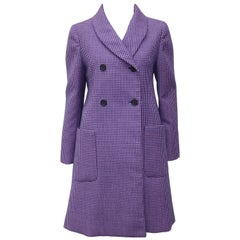 1960's Geoffrey Beene Lilac, Black & Blue Houndstooth Wool Coat
