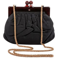 CHANEL Vintage Black Duchess Satin Bag