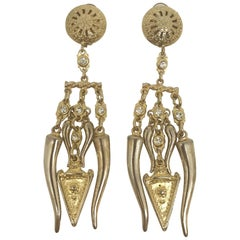 "Carlo Zini 4.5"" long Etruscan style earrings from Elsa Martinelli's collection"