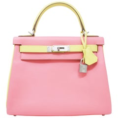 Hermes Sellier 28cm Bi-Color Rose Confetti and Jaune Poussin Epson Kelly Bag