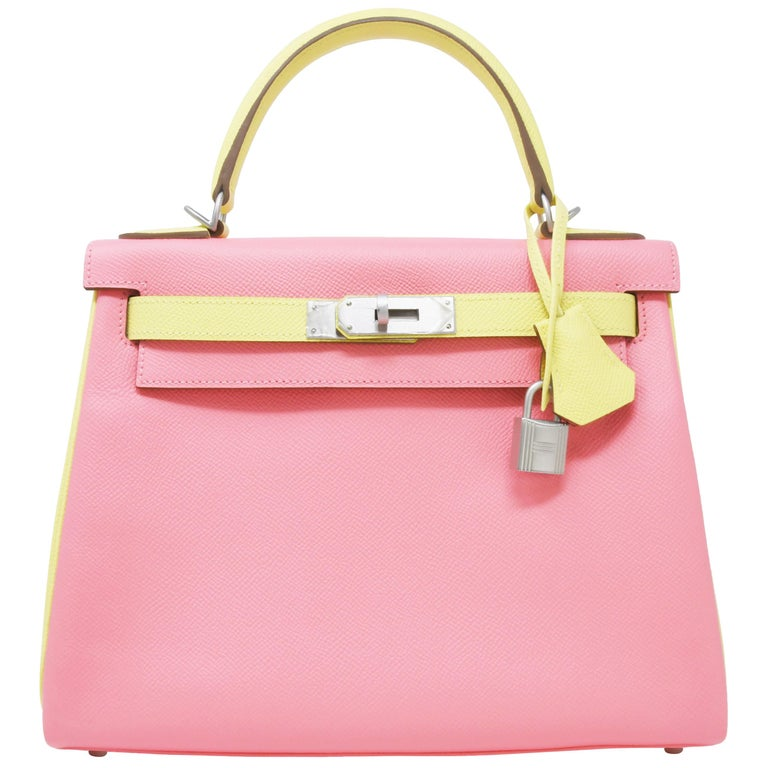 Hermes Kelly Bi-Color Jaune Poussin and Rose Confetti PHW For Sale
