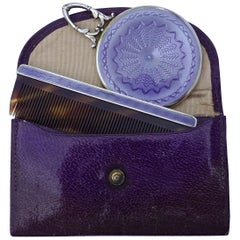1920s Art Deco Silver and Lilac Guilloché Comb and Mirror with Leather Case