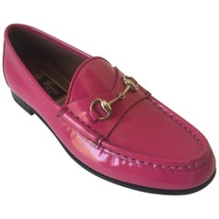 Magenta Leather Gucci Loafers Sz.36