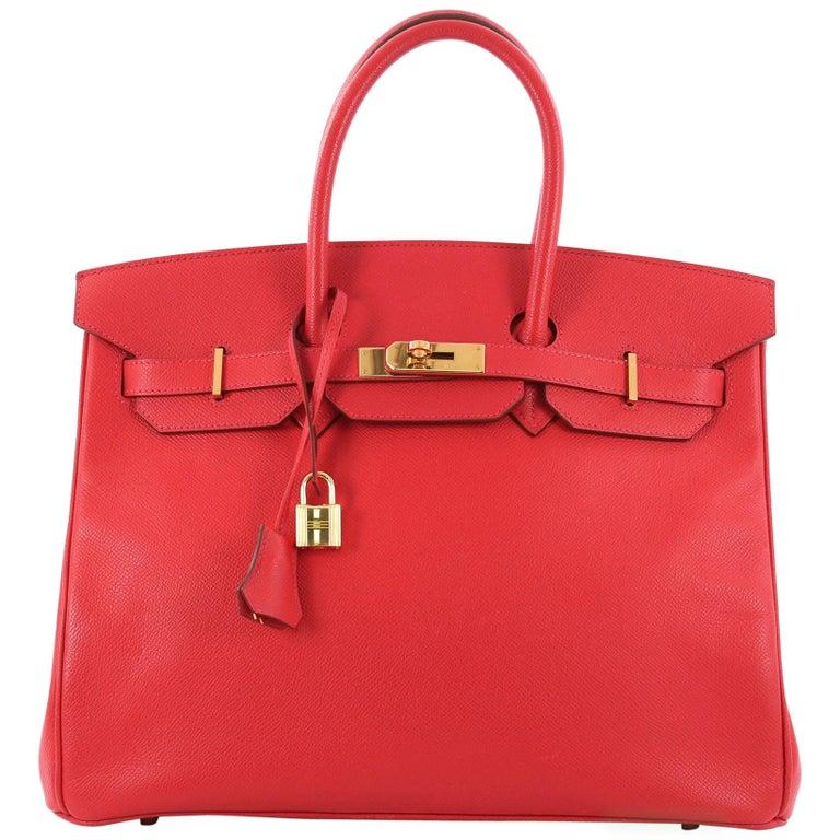 Hermes Birkin Handbag Rouge Vif Epsom with Gold Hardware 35 For Sale