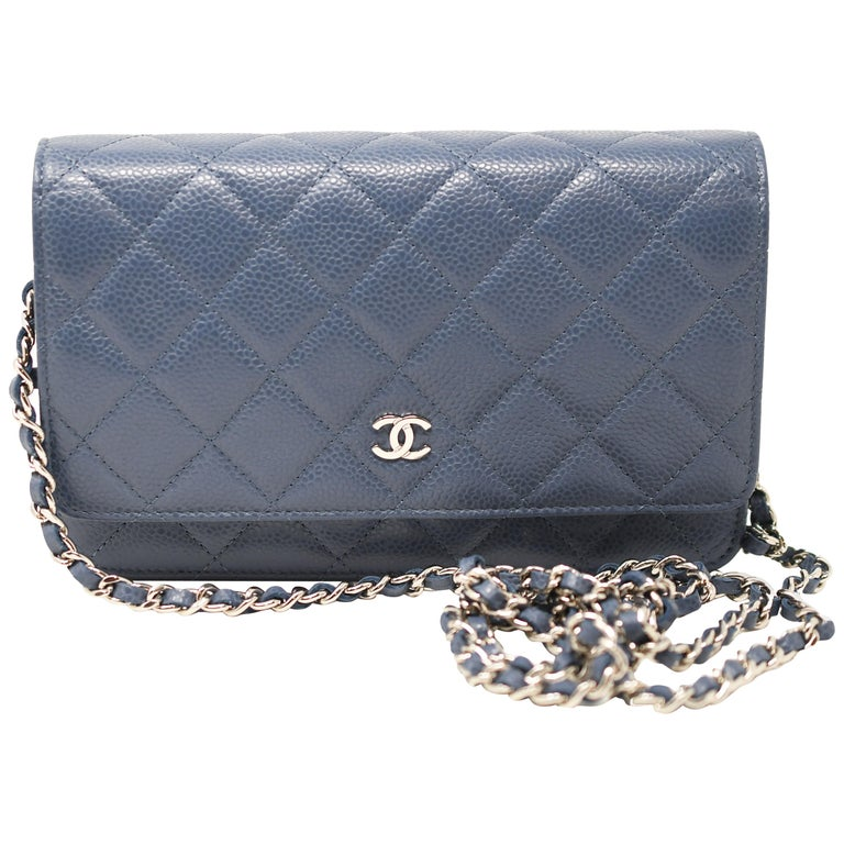 9fee57e457df Chanel Small Blue Caviar Clutch / Wallet on a Chain For Sale at 1stdibs