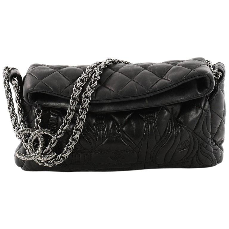 b42be33c8881 Chanel Paris-Moscow Square Flap Bag Embossed Quilted Lambskin Small For Sale