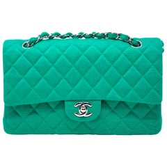 ab1839a99cce Chanel Emerald Green Jersey Knit Classic Double Flap Bag