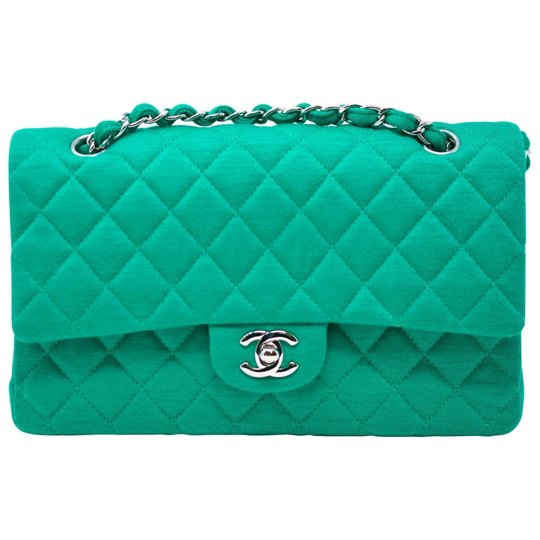 Chanel Emerald Green Jersey Knit Classic Double Flap Bag For Sale