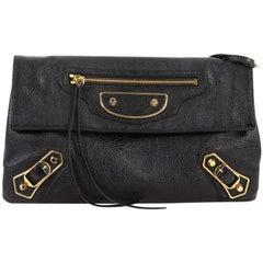 Balenciaga Envelope Strap Classic Studs Metallic Edge Clutch Leather