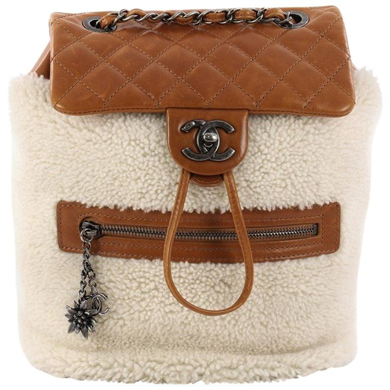 Chanel Mountain Backpack Shearling with Quilted Calfskin Small For Sale bbb15c9366a5a
