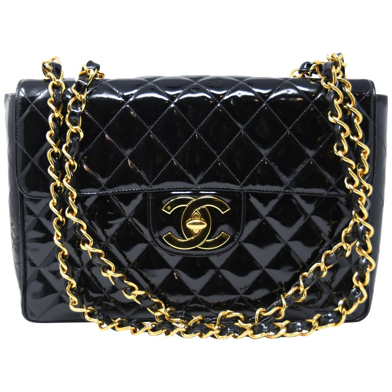 Chanel Vintage Patent Leather Jumbo Double Flap Bag For Sale at 1stdibs e38a18dfbb