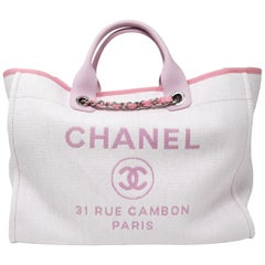 2de1cb675143 Chanel White Woven Tote with Pink Handle   Chain Strap