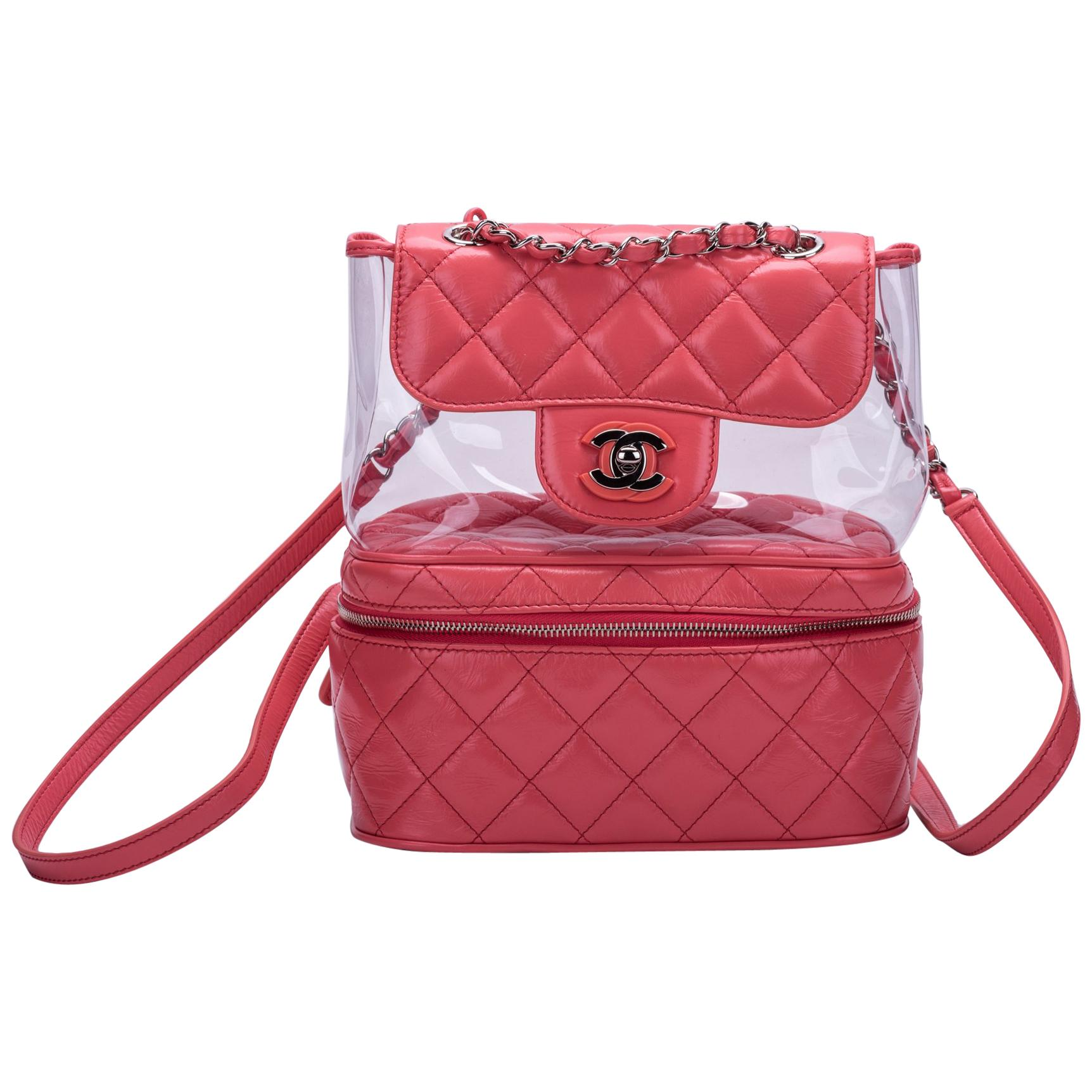 979fde406619 New in Box Chanel Sold Out Pink Quilted Lambskin Leather Clear Backpack For  Sale at 1stdibs