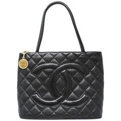 Chanel Black Caviar Gold Medallion Tote