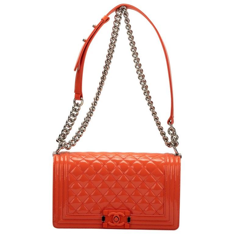 Chanel Orange Patent Leather Medium Boy Bag For