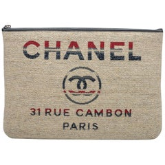 New Chanel Large Red Beige Stripe Clutch Bag