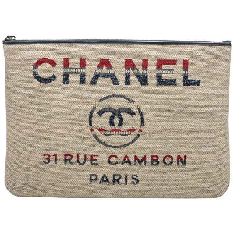 New Chanel Large Red Beige Stripe Clutch Bag For Sale